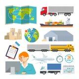Ícone colorido do vetor da logística ajustado para o seu ilustração royalty free