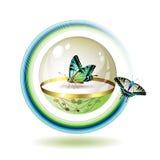 Ícone com borboleta Fotografia de Stock Royalty Free