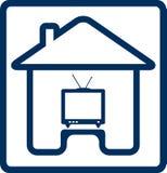 Ícone com casa e silhueta da tevê Fotos de Stock Royalty Free