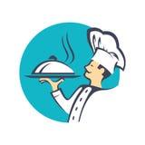 Ícone com cozinheiro chefe ilustração stock