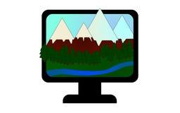Ícone com montanhas, a floresta conífera e o córrego ilustração royalty free