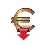 Ícone com sinal do Euro e para baixo uma seta Imagens de Stock