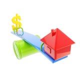 Ícone-como a casa e o sinal de dólar dos EUA no theseesaw Fotos de Stock Royalty Free