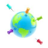Ícone-como o globo da terra coberto com os pinos Imagens de Stock