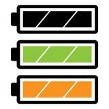 Ícone completo da bateria simples, lisa, horizontal Variações da cor da árvore imagem de stock