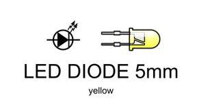Ícone conduzido e símbolo do diodo, amarelos Fotografia de Stock Royalty Free