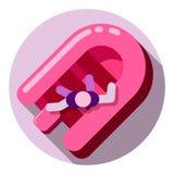 Ícone cor-de-rosa do barco de borracha Foto de Stock
