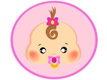 Ícone cor-de-rosa do bebê da menina com um tipo círculo dos desenhos animados foto de stock royalty free
