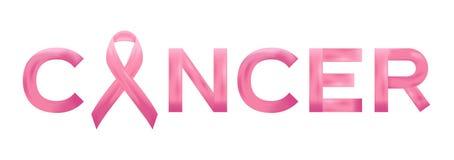 Ícone cor-de-rosa realístico da fita e do câncer da mama Ilustração do vetor ilustração royalty free