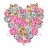 Ícone coração-dado forma aquarela de ferramentas de confecção de malhas fotografia de stock royalty free