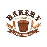 Ícone cozido fresco do pão de centeio para o emblema da loja da padaria ilustração stock