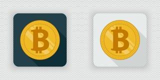 Ícone cripto da moeda do bitcoin claro e escuro ilustração do vetor