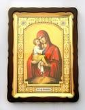 Ícone cristão de madeira no fundo branco fotografia de stock