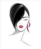 Ícone curto do penteado, cara das mulheres do logotipo Fotos de Stock