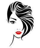 ícone curto do penteado das mulheres, cara das mulheres do logotipo ilustração stock