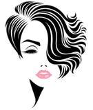 Ícone curto do penteado das mulheres, cara das mulheres do logotipo no fundo branco ilustração stock