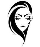 Ícone curto do penteado das mulheres, mulheres do logotipo no fundo branco ilustração stock