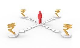 Ícone 3d do homem e símbolos da rupia Imagem de Stock