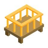 Ícone 3d isométrico da cama de bebê Imagem de Stock Royalty Free