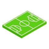 Ícone 3d isométrico da disposição do campo de futebol Imagens de Stock Royalty Free