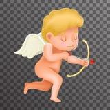 Ícone 3d Valentine Day Design Vetora Illustrator realístico do personagem de banda desenhada de Angel Cherub Baby Boy Child Foto de Stock