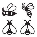Ícone da abelha em quatro variações Vetor EPS 10 Imagem de Stock Royalty Free