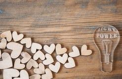 Ícone da ampola e forma dos corações Imagem de Stock Royalty Free
