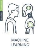 Ícone da aprendizagem de máquina com estilo editável do curso e do esboço fotografia de stock