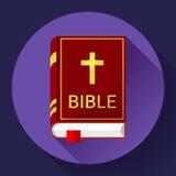 Ícone da Bíblia com sombra longa Imagem de Stock Royalty Free
