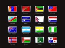 Ícone da bandeira ajustado (parte 8) Foto de Stock Royalty Free