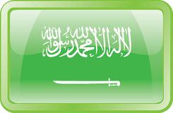 Ícone da bandeira de Arábia Saudita Fotografia de Stock Royalty Free