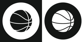 Ícone da bola do basquetebol Bola do basquetebol da silhueta em um fundo preto e branco Equipamento de esportes Ilustração do vet ilustração royalty free