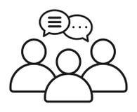 Ícone da bolha da conversa do bate-papo do grupo dos homens de negócios ilustração do vetor