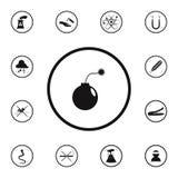 ícone da bomba do sinal do perigo Grupo detalhado de ícones dos sinais de aviso Sinal superior do projeto gráfico da qualidade Um ilustração stock