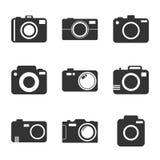 Ícone da câmera ajustado no fundo branco Fotos de Stock