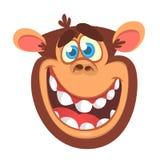 Ícone da cabeça do macaco dos desenhos animados Ilustração do vetor do chimpanzé de sorriso Imagem de Stock Royalty Free