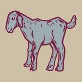 Ícone da cabra da criança, estilo tirado mão ilustração stock