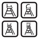 Ícone da cadeira do árbitro do tênis em quatro variações Fotografia de Stock