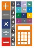 Ícone da calculadora ajustado na cor Fotos de Stock