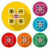 Ícone da calculadora ou logotipo simples, grupo de cor com sombra longa ilustração stock