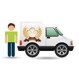 Ícone da camionete da padaria e do homem do caráter Imagem de Stock Royalty Free