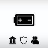 Ícone da carga da bateria, ilustração do vetor Estilo liso do projeto Fotografia de Stock