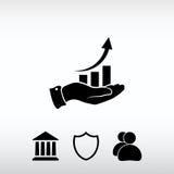 Ícone da carta com mão, ilustração do vetor Estilo liso do projeto Fotografia de Stock Royalty Free