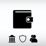 Ícone da carteira, ilustração do vetor Estilo liso do projeto Fotografia de Stock