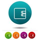 Ícone da carteira Sinal do símbolo da bolsa do dinheiro Botão da Web Imagens de Stock Royalty Free