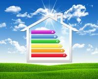 Ícone da casa com uso eficaz da energia da grade Fotografia de Stock Royalty Free