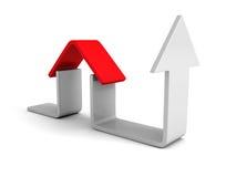Ícone da casa do conceito de Real Estate com seta de aumentação ilustração royalty free