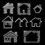 Ícone da casa no quadro-negro Fotografia de Stock Royalty Free