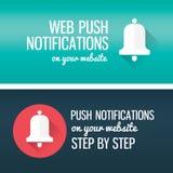 Ícone da chamada das notificações com sino e título Bandeira para você blor, Web site Fotos de Stock