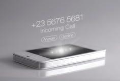 Ícone da chamada de Imcoming 3d que mostra no smartphone Foto de Stock Royalty Free